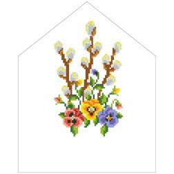 Набір для вишивки нитками Барвиста Вишиванка Пасхальна хустинка на лозу 20х25 ТР556пн2025i