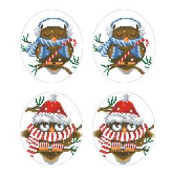 Схеми новорічних іграшок для вишивки бісером на тканині Серія: Новорічні Сови ТР581пн2933