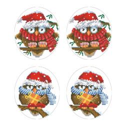 Схеми новорічних іграшок для вишивки бісером на тканині Серія: Новорічні Сови ТР582пн2933