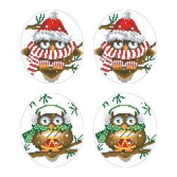 Схеми новорічних іграшок для вишивки бісером на тканині Серія: Новорічні Сови ТР583пн2933