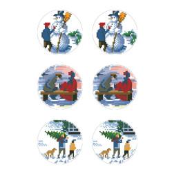 Схеми новорічних іграшок для вишивки бісером на тканині Серія: Ковзанка ТР584пн2133