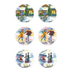 Схеми новорічних іграшок для вишивки бісером на тканині Серія: Ковзанка ТР585пн2133