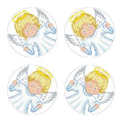 Схеми новорічних іграшок для вишивки бісером на тканині Серія: Ангелики ТР600пн3030