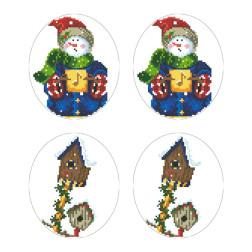 Схеми новорічних іграшок для вишивки бісером на тканині Серія: Сніговики-Колядники ТР603пн2933