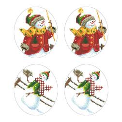 Схеми новорічних іграшок для вишивки бісером на тканині Серія: Сніговики-Колядники ТР604пн2933