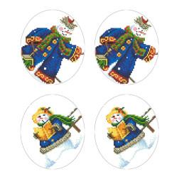 Схеми новорічних іграшок для вишивки бісером на тканині Серія: Сніговики-Колядники ТР605пн2933