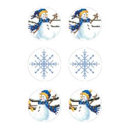 Схеми новорічних іграшок для вишивки бісером на тканині Серія: Сніговики-Колядники ТР607пн2133