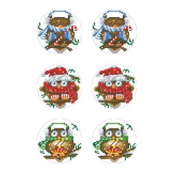 Схеми новорічних іграшок для вишивки бісером на тканині Серія: Новорічні Сови ТР608пн2133