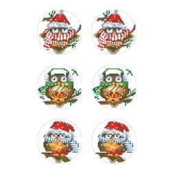 Схеми новорічних іграшок для вишивки бісером на тканині Серія: Новорічні Сови ТР609пн2133