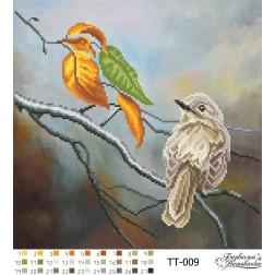 Схема для вишивки бісером Барвиста Вишиванка Дві пташки 31х31 ТТ009пн3131