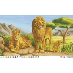 Схема для вишивки бісером Барвиста Вишиванка Сімейство левів 63х35 ТТ013пн6335
