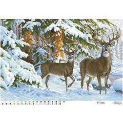 TT015ан6343 Бісерна заготовка для вишивання схеми-картини Олені в зимовому лісі 63 см x 43 см