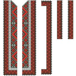 Заготовка дитячої вставки для сорочки на 6-12 років Вогняна для вишивки бісером ВД015кБнннн