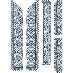 Набір бісеру Preciosa для вишивки бісером до заготовки чоловічої вставки для сорочки Кучерява безмежність ВЧ002дБннннb