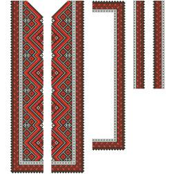 Заготовка чоловічої вставки для сорочки Вогняна для вишивки бісером ВЧ015кБнннн