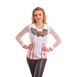 Блузка-вишиванка жіноча вишита бісером ЖБ004дБ4600