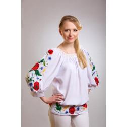 Блузка-вишиванка жіноча вишита машинною вишивкою гладдю ЖБ602шБнн01