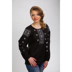 Блузка-вишиванка жіноча вишита машинною вишивкою гладдю ЖБ605лЧнн02
