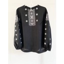 Блузка-вишиванка жіноча вишита машинною вишивкою гладдю ЖБ605лЧнн04