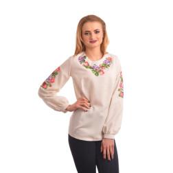 Блузка-вишиванка жіноча вишита машинною вишивкою хрестиком ЖБ632дМ5404