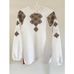 Блузка-вишиванка жіноча вишита машинною вишивкою хрестиком ЖБ643лБнн02