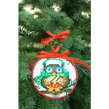 Пошита новорічна іграшка для вишивання Веселун (серія: Новорічні Сови) 10 см Х 10 см ТР369аБ1010
