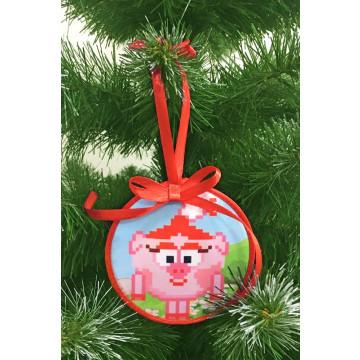 Пошита новорічна іграшка для вишивання Нюша (серія: Смішарики) 10 см Х 10 см ТР377аБ1010