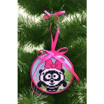 Пошита новорічна іграшка для вишивання Панді (серія: Смішарики) 10 см Х 10 см ТР383аБ1010