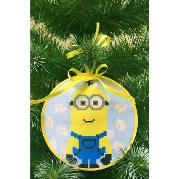 Пошита новорічна іграшка для вишивання Кевін (серія: Міньйони (Посіпаки)) 14 см Х 14 см ТР387аБ1414