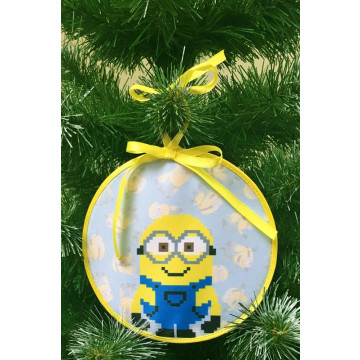 Пошита новорічна іграшка для вишивання Боб (серія: Міньйони (Посіпаки)) 14 см Х 14 см ТР388аБ1414