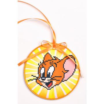 Схема для вишивки бісером і нитками Барвиста Вишиванка Пошита новорічна іграшка Джеррі (Серія: Том і Джеррі) 14х14 ТР494аБ1414